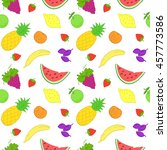 seamless pattern with fruits... | Shutterstock . vector #457773586