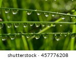 water drops on wet grass with... | Shutterstock . vector #457776208