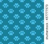 cat paw print. vector seamless... | Shutterstock .eps vector #457777573