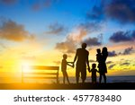 silhouette family mother father ... | Shutterstock . vector #457783480