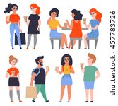 set of stylish flat characters. ... | Shutterstock .eps vector #457783726