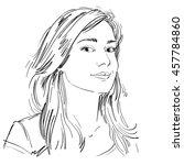 art drawing  portrait of... | Shutterstock . vector #457784860