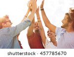 group of happy friends high... | Shutterstock . vector #457785670