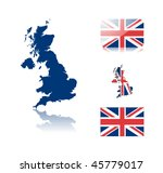British map including: map with reflection, map in flag colors, glossy and normal flag of United kingdom. - stock vector