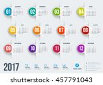 calendar for 2017 year. vector... | Shutterstock .eps vector #457791043