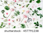 pink roses and scissors on... | Shutterstock . vector #457791238