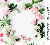 flat lay frame with pink and... | Shutterstock . vector #457791253
