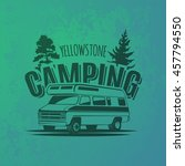 camper van car logo on grunge... | Shutterstock .eps vector #457794550