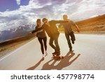 group of friends having fun... | Shutterstock . vector #457798774