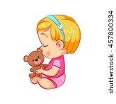 cute little baby girl kissing... | Shutterstock .eps vector #457800334