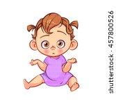 cute doubting little baby girl. ... | Shutterstock .eps vector #457800526