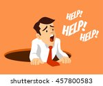 worker fell into hole.  man... | Shutterstock .eps vector #457800583