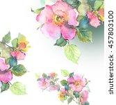 roses hips flowers garland  ... | Shutterstock . vector #457803100