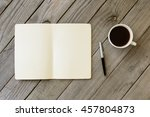open notebook with blank pages  ... | Shutterstock . vector #457804873