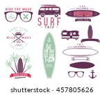 set of vintage surfing graphics ... | Shutterstock .eps vector #457805626