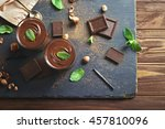 chocolate mousse with mint in... | Shutterstock . vector #457810096