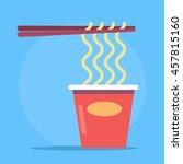 noodles in cardboard packaging. ... | Shutterstock .eps vector #457815160