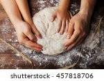 father and child hands prepares ...   Shutterstock . vector #457818706