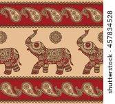 indian elephants. seamless ... | Shutterstock .eps vector #457834528