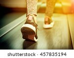 athlete runner feet close up on ... | Shutterstock . vector #457835194
