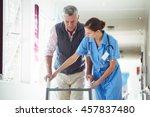 nurse helping senior man with...   Shutterstock . vector #457837480