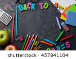 supplies  apple and chalk board ... | Shutterstock . vector #457841104