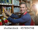 portrait of male staff... | Shutterstock . vector #457854748