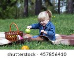 sweet little blond girl child... | Shutterstock . vector #457856410