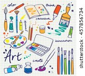 colorful art supplies icons | Shutterstock .eps vector #457856734