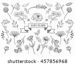 hand drawn floral set. graphic... | Shutterstock . vector #457856968