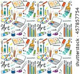 Colorful Art Supplies Icons...
