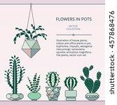 cactus collection in vector... | Shutterstock .eps vector #457868476