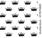 hand drawn crown   seamless... | Shutterstock .eps vector #457874800