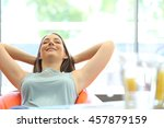 beautiful woman relaxing with... | Shutterstock . vector #457879159