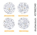 set of doodle line vector... | Shutterstock .eps vector #457882540