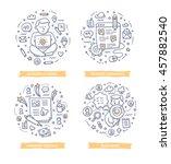 set of doodle line vector... | Shutterstock .eps vector #457882540