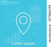 map pointer flat line icon