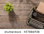 vintage typewriter on the old... | Shutterstock . vector #457886938
