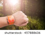 heart rate monitor app on the... | Shutterstock . vector #457888636
