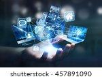 businesswoman connected tech... | Shutterstock . vector #457891090