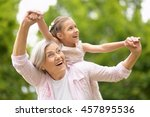 grandmother with granddaughter  ... | Shutterstock . vector #457895536