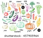 colored sketch of vegetables... | Shutterstock .eps vector #457905964