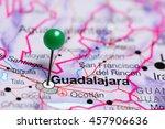 guadalajara pinned on a map of... | Shutterstock . vector #457906636