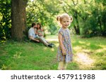 cute little blonde little girl... | Shutterstock . vector #457911988