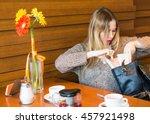unhappy girl can not find...   Shutterstock . vector #457921498