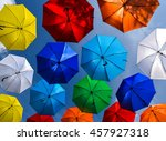 many umbrellas coloring the sky | Shutterstock . vector #457927318