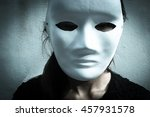 face of mysterious woman... | Shutterstock . vector #457931578