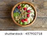 healthy breakfast smoothie bowl ... | Shutterstock . vector #457932718