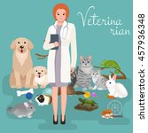 group of pets and veterinary ... | Shutterstock .eps vector #457936348