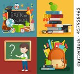 school theme set. back to... | Shutterstock .eps vector #457938463